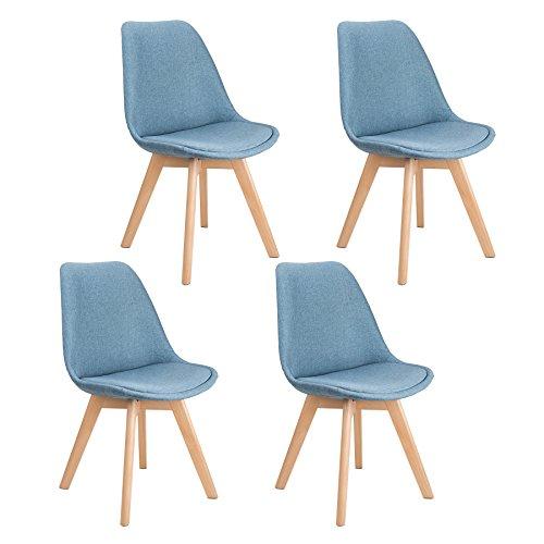 Ghế Eames chân gỗ bọc vải bố xanh xám