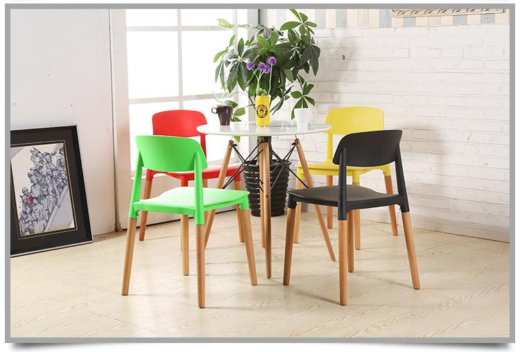 Ghế nhựa đúc chân gỗ A15