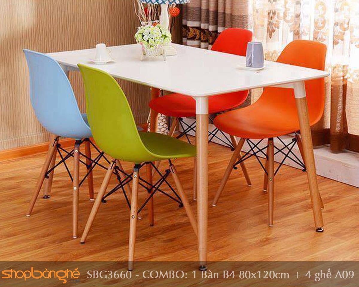 Bộ bàn ghế Eames nhập khẩu SBG3660